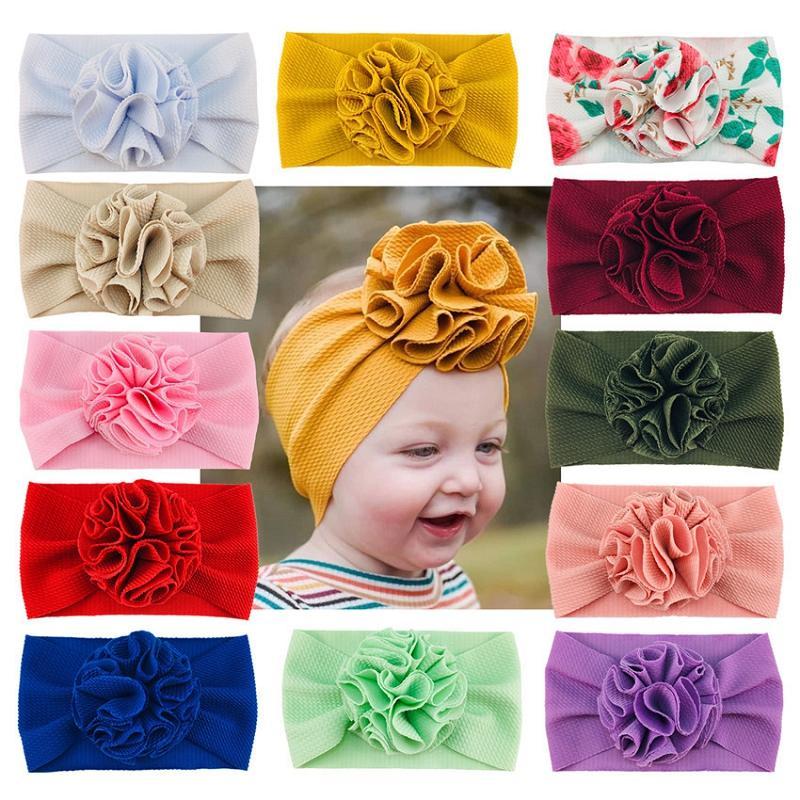 28 ألوان طفلة فتاة ستيريو زهرة عقال الأزياء الناعمة الحلوى اللون بوهيميا الزهور فتاة الرضع الشعر اكسسوارات عقال M3292