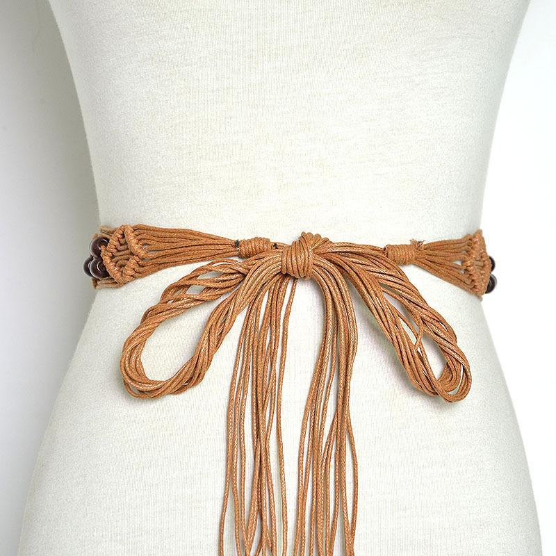 handmade Design ladies bohemian Braided Belt Female Weave wooden bead commerbund For Women waistband Cinto Feminino VKAC1026