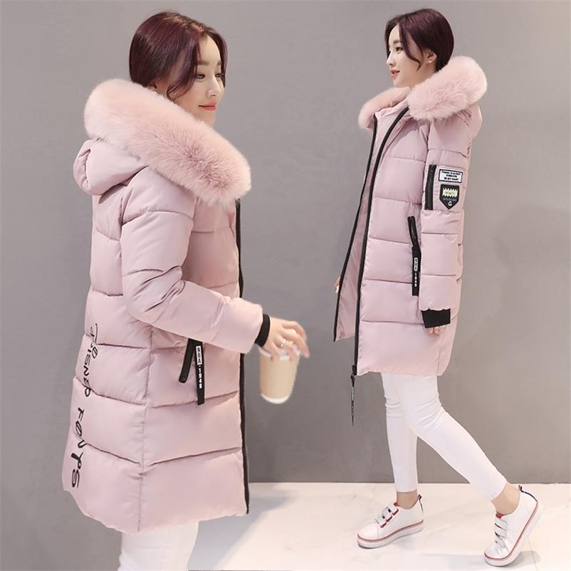 Parka Kadınlar Kışlık Mont Uzun Pamuk Rahat Kürk Kapüşonlu Ceketler Kadın Kalın Sıcak Kış Parkas Kadın Palto Ceket MLD1268 201214