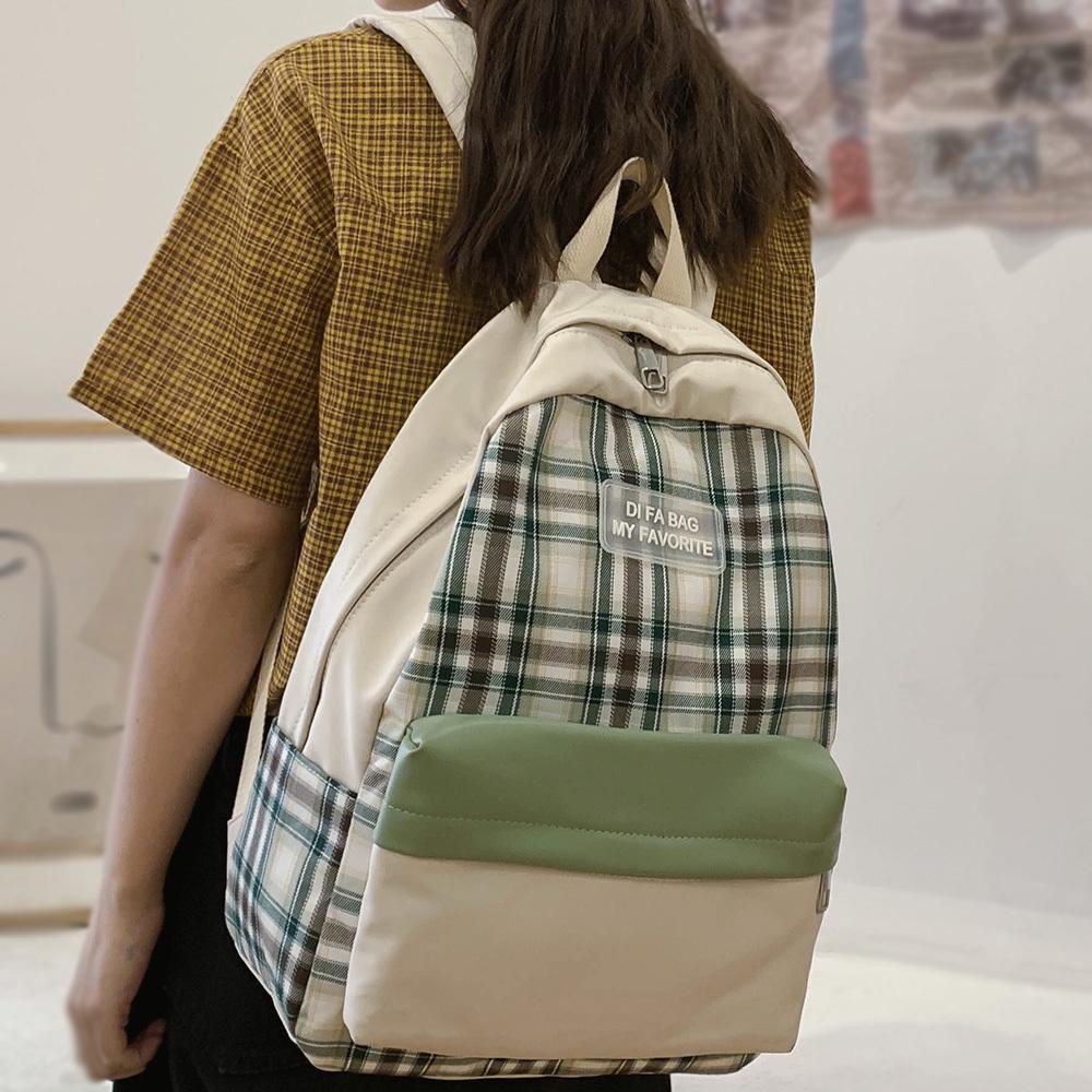Cute Female Plaid Harajuku Waterproof Women Nylon School Book Girl Vintage Backpack Kawaii Student Lady Bag Lattice Q1113