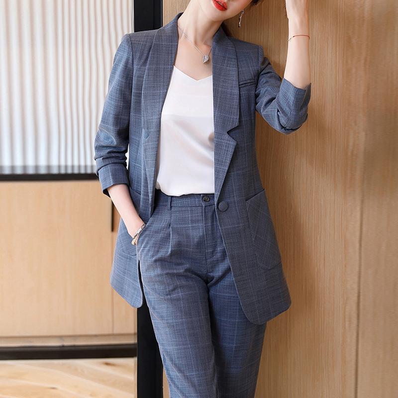 Женские двух частей брюки мода зеленые женщины Blazer набор тонкий пиджак карандаш брюки костюм женская работа женщина 2 плюс SZE 4xL