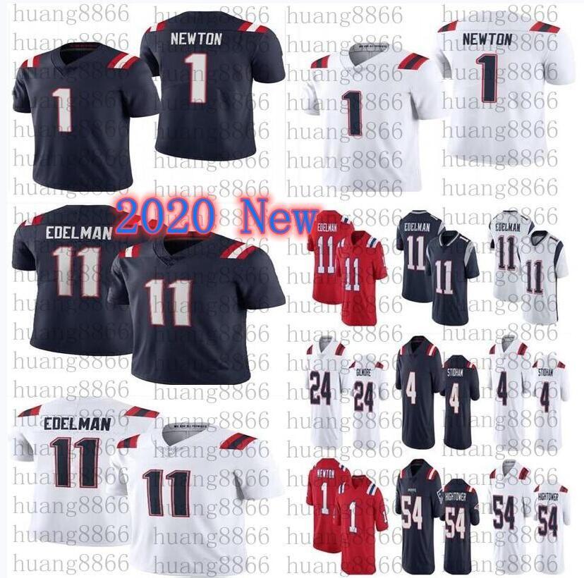 2021 uomini calcio # 11 Julian Edelman 1 Cam Newton 24 Stephon Gilmore 54 Dont'a Hightower 4 Jarrett Stidham Jersey