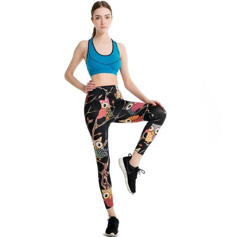 Бренды Женщины моды Legging Печать полиэфирного волокна легинсы Тонкий Legins высокой талией женщина штаны