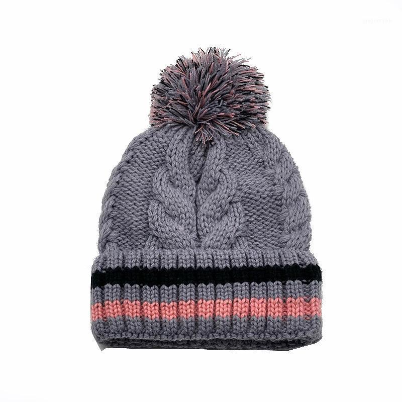 Berretto da berretto / cranio Donne inverno inverno caldo maglia Berretti Berretti Bonnet Femme Hiver 2021 Lana Beautiful Cappello per lady Girls Stile a strisce1