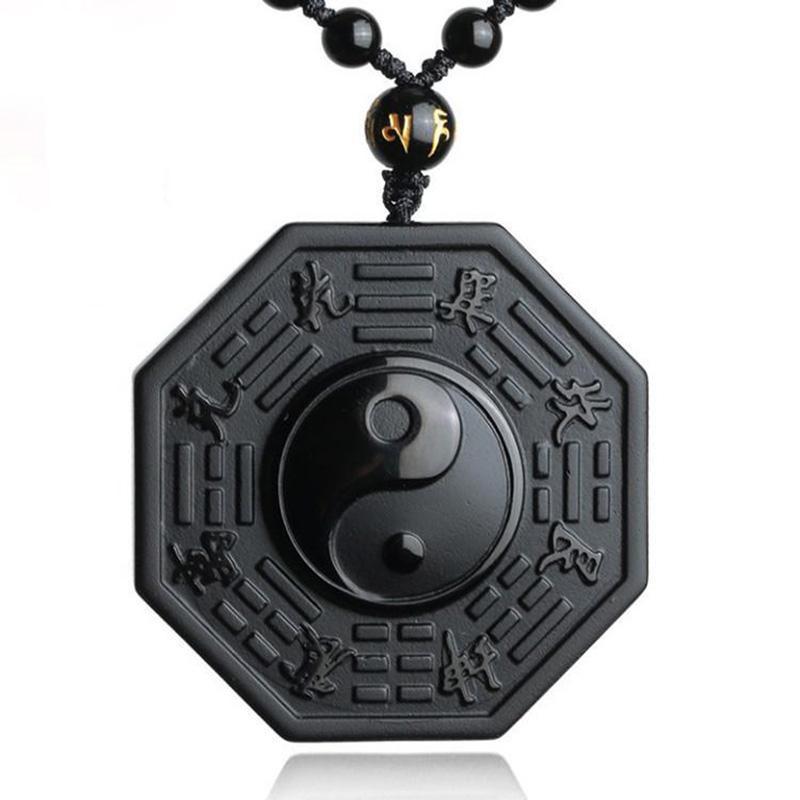 Jóias Yang Colar Pingente chinês de Homens BAGUA transporte da gota preto Obsidian Yin Colar de jóias mulheres