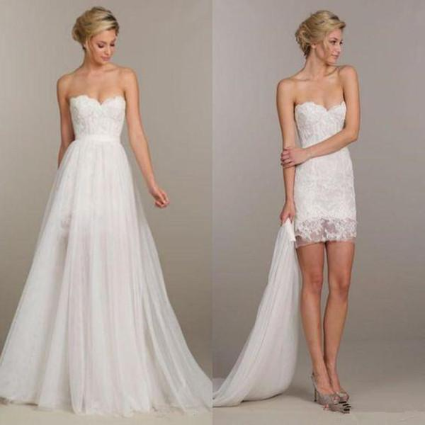 Cheap Summer Holiday Convertible Short Beach Boho Party Wedding Dresses Two Pieces Detachable Overskirt Cheap Lace Wedding Gown