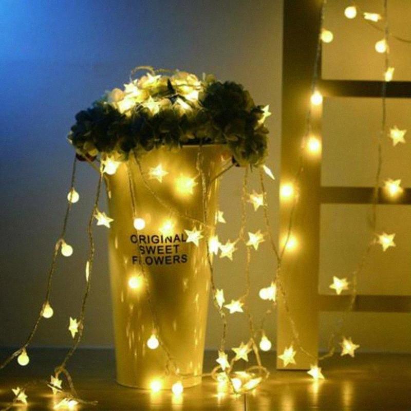 6M 40 del fiore della stella LED da sposa ghirlanda decorazione domestica della luce della stringa di Natale decorazioni per la casa Compleanno Matrimonio all'aperto Luce OwAh #
