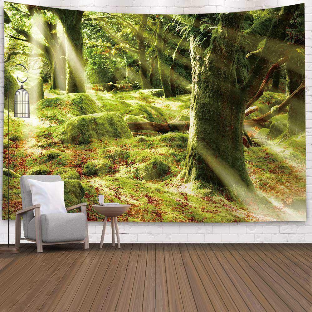 Forêt Ruisseau Tapisserie 3D Serviette de plage Cascade Paysage Belle peinture murale Tapis Tapis de yoga Décoration d'intérieur tapisserie Nappe
