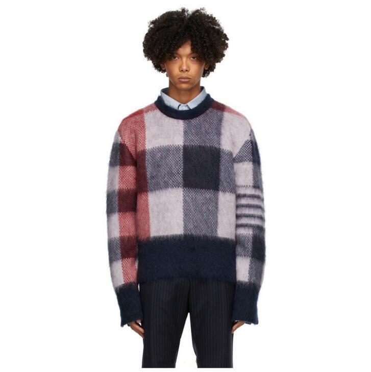 Männer Frauen Mode Rundhals Mohair Pullover Retro Wolle Bunter Plaid Mantel Pullover Kostenloser Versand