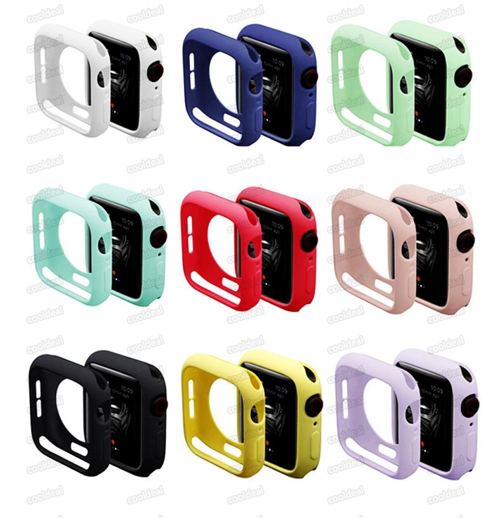 الملونة حالة سيليكون لينة ل أبل ووتش iwatch سلسلة 1 2 3 4 غطاء حالات حماية كاملة 42 ملليمتر 38 ملليمتر 40 ملليمتر 44mm الفرقة الملحقات
