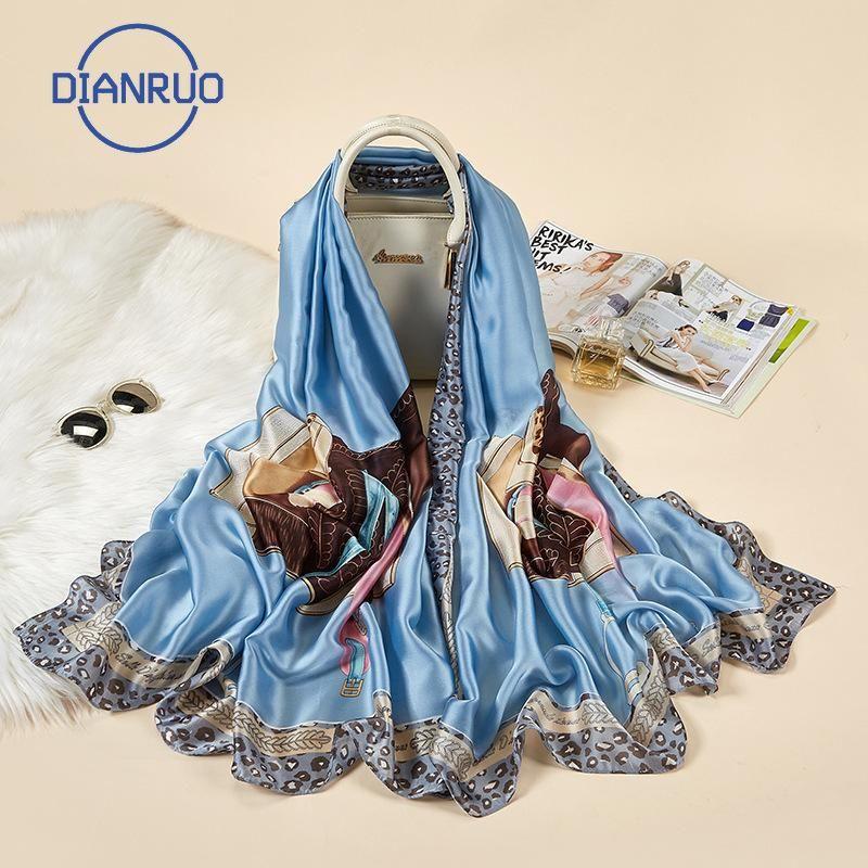 DIANRUO Sommer-Frauen-Tücher und Wraps Drucken Hijabs Schals Seidenschals Foulard Femme Strand Stolen R211