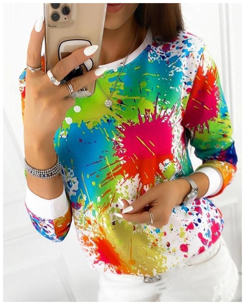 Frauen Hoodies Designer Long Sleeve Crew Neck Tie Dye Gedruckt Frau Sweatershirt beiläufige lose Frauenkleidung