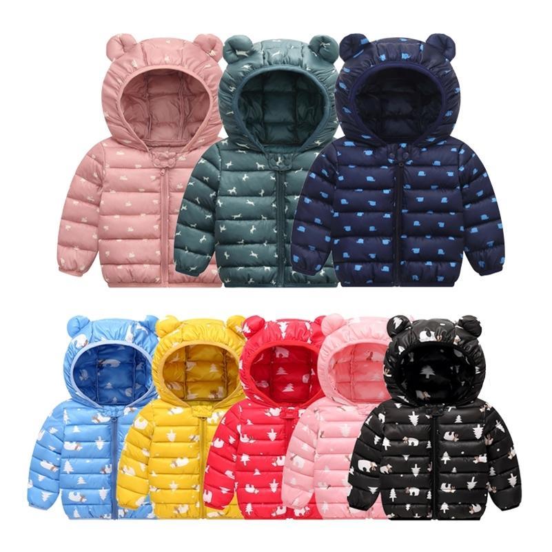 Зимняя молния с капюшоном с капюшоном девочек мальчики Пальто теплые куртки детей с капюшоном верхняя одежда ветровка на 1-6 лет детская LJ201130