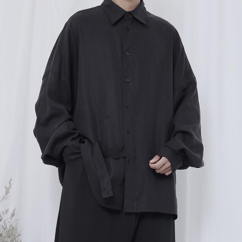Оригинальные новые мужские длинные рукава осень Ямамото стиль темный нишевой дизайн красивый свободная рубашка тренд Q0109