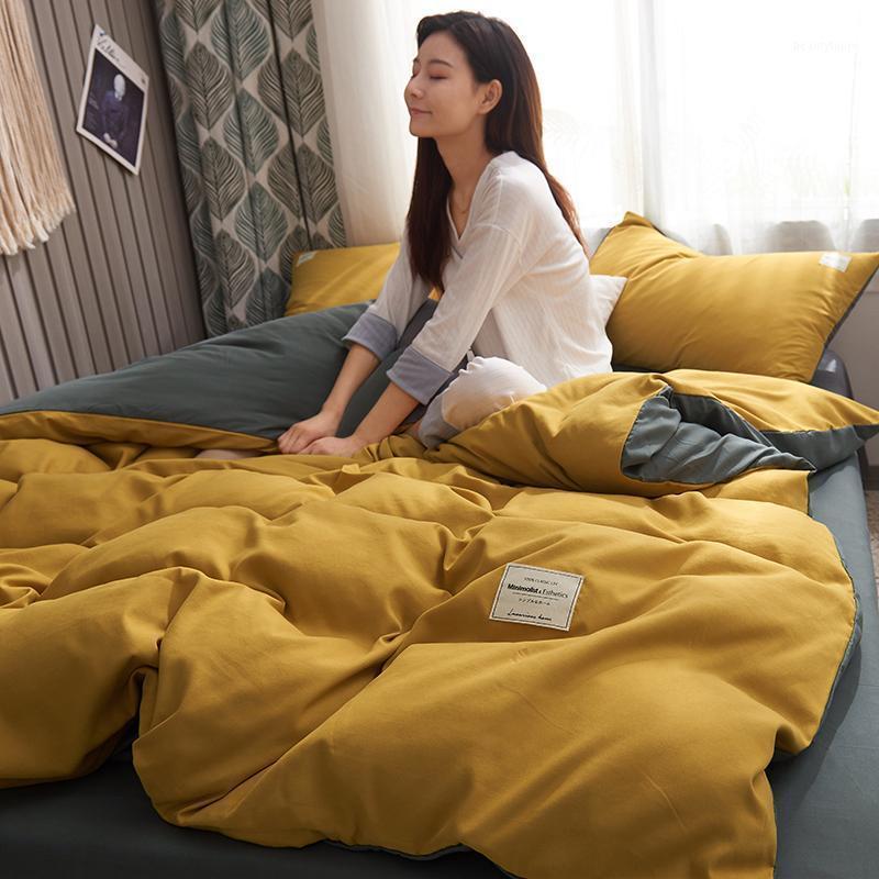 Setting Luxury Bedding Set Modern Sim Simples Duvet Cobertura Conjuntos King Size Solteiro Casal Rain Green Roupa Adulto Lençóis Amarelos Lençóis