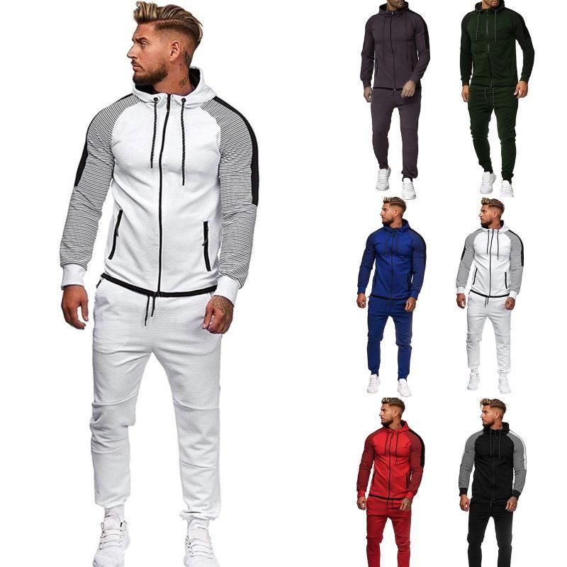 Men's Sets Gradient Zipper Print Man Fashion Casual Tracksuits Mens Two-piece Patchwork Chest Pocket Pants sports fitness Suits