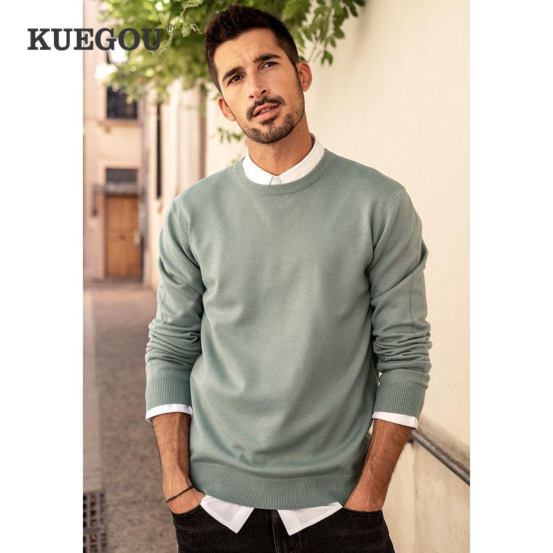 KUEGOU осень зима одежда Сплошной цвет Мужские свитера простирания Пара пуловеры моды теплые свитера топ плюс размер YYZ-2209 Q1110