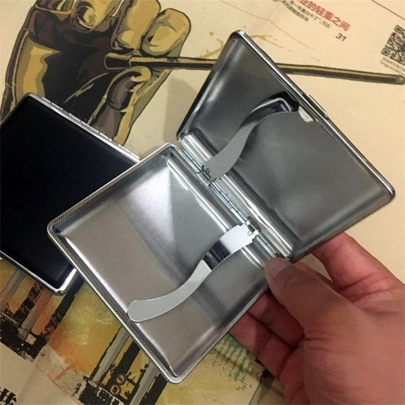 Portasigarette di cuoio e lega di sigaretta 20pcs Custodia economica Caso Automatico contenitore Man e Donne Portatile Nuovo arrivo 5LJH1