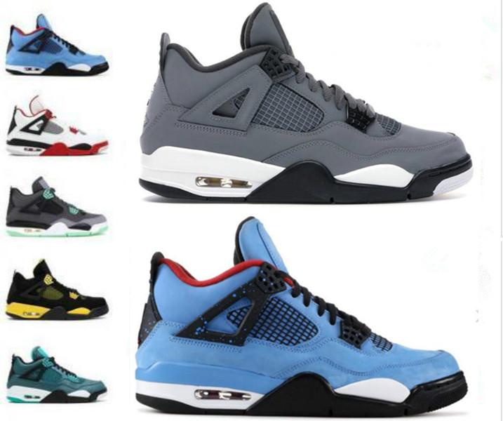 Hot Jumpman Leal Azul O que o 4S tênis de basquete Trovão Pure dinheiro Bred 4 Atlético Cinza frio vôo Nostalgia Designer Trainers Sneakers
