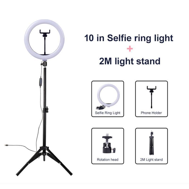 26см Фото LED сеого Кольцо свет 10 дюймов Диммируемой Студия Заливка лампа с треногой для Youtube Живого красоты макияжа видео