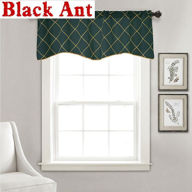 1PCS Rod Pocket American Dark Green Half Curtain Valance for kitchen Door Small Window Cabinet Stripe Short Drapery DL034F