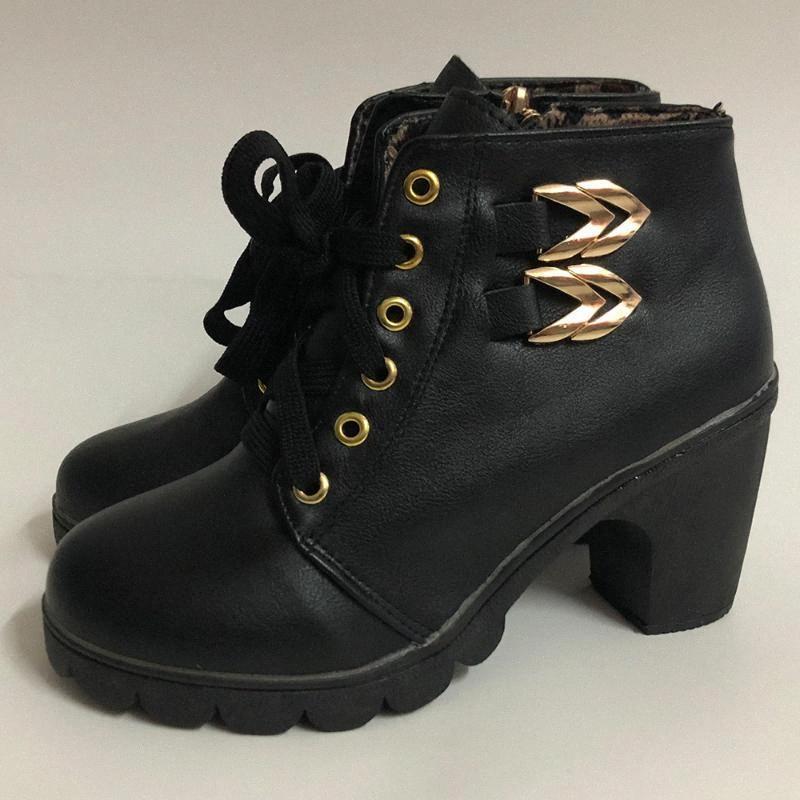 Donne di cuoio Lace Up Stivaletti Side Zipper Stivali Tacchi alti punta rotonda Booties inverno delle signore del blocco Tacchi bottini D30 Qc7V #