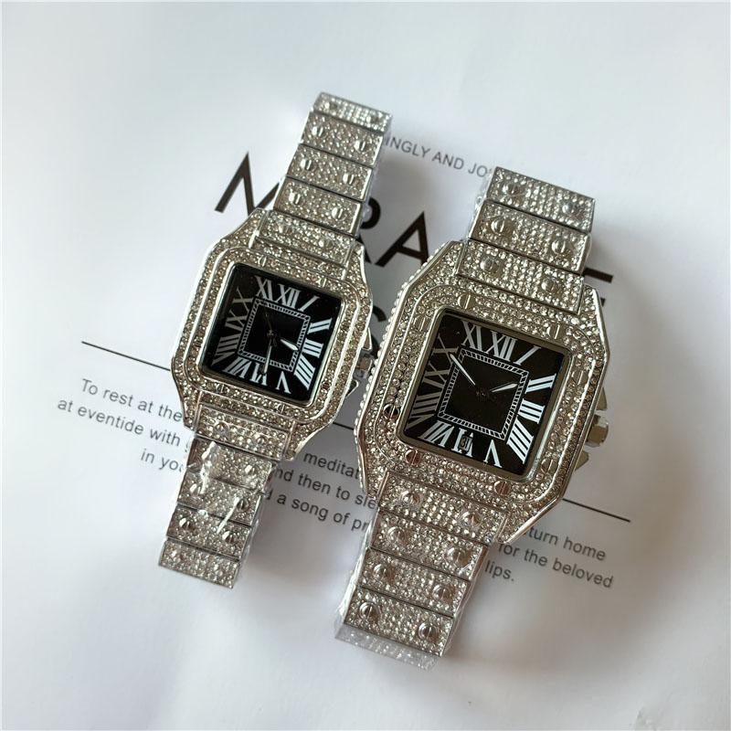 Vendita calda Uomini di alta qualità Uomo Donna Moda orologio Shinning Diamond Watch Full Iced Out Orologi in acciaio inox Movimento al quarzo in acciaio inox Orologio da polso di lusso