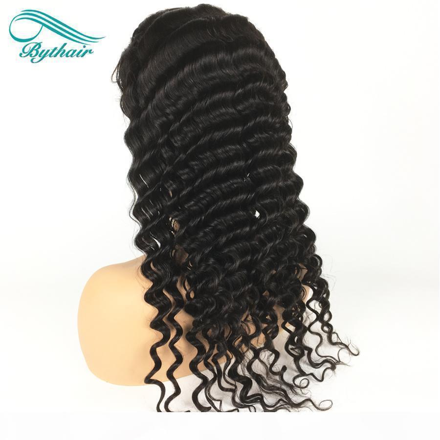 Pelucas de cabello humano de encaje completo para mujer para mujeres negras Pelucas delanteras de encaje de encaje de onda profunda con pelucas de pelo virgen brasileño con cabello bebé nudos blanqueados
