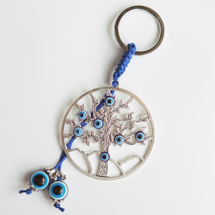 Evil Eye Life Tree Keychains Resin Eye Bead Alloy Tree Charm Key Chain for Bag Decoration