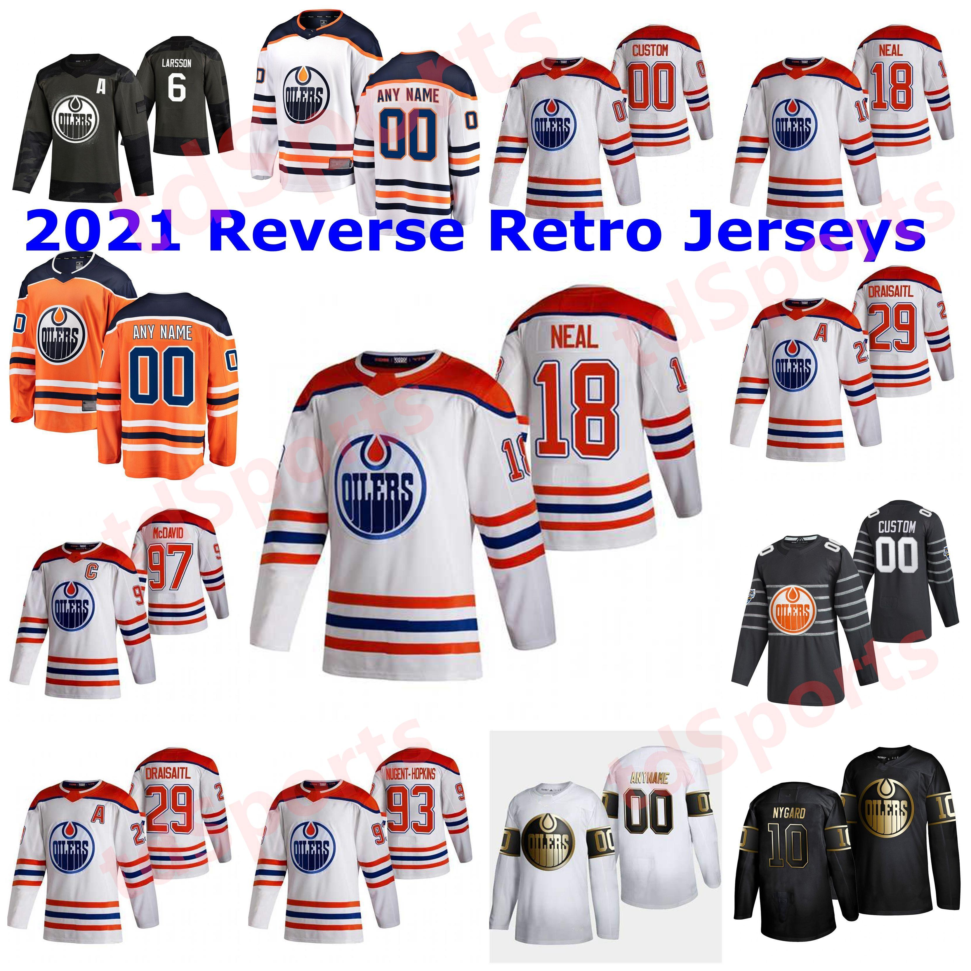 Edmonton Oilers 2021 Reverse Retro Hóquei Jerseys 26 Brandon Manning Jersey 36 Joel Persson 4 Kris Russell 19 Mikko Koskinen Costume Costume