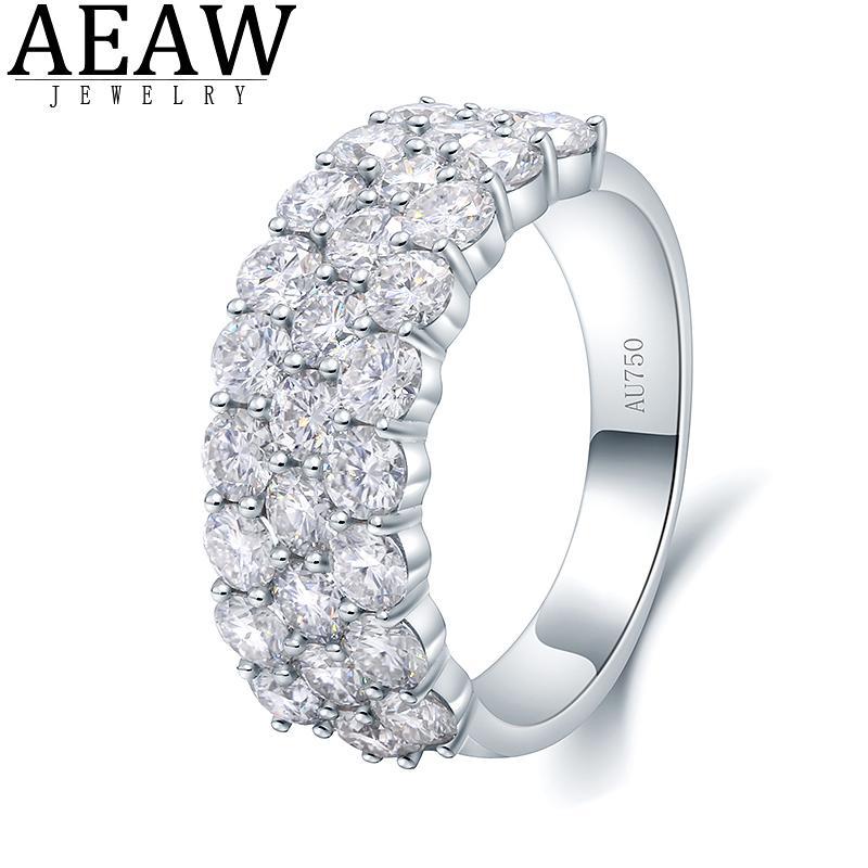 AEAW Luxuscenter 2.8CTW DF Color VVS MOISSANITE Engagement Band für Männer Feste 14k 585 Weißgold Ring oder S925 Silberring Y0122