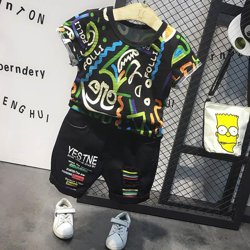 Enfants Vêtements garçons Vêtements Ensembles Été Fashion Cool Toddler Kid T-shirt Kid Denim Shorts Tenue de vêtements 2 3 4 5 6 ans LJ200831