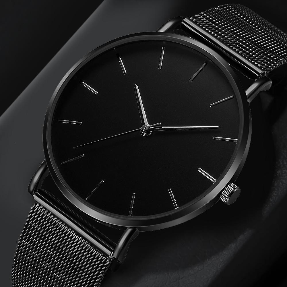 Mode casual Montre pour femme Métal heure Reloj Mujer montre à quartz simple Montre Femme Mesh noir Bracelet en acier inoxydable Saa
