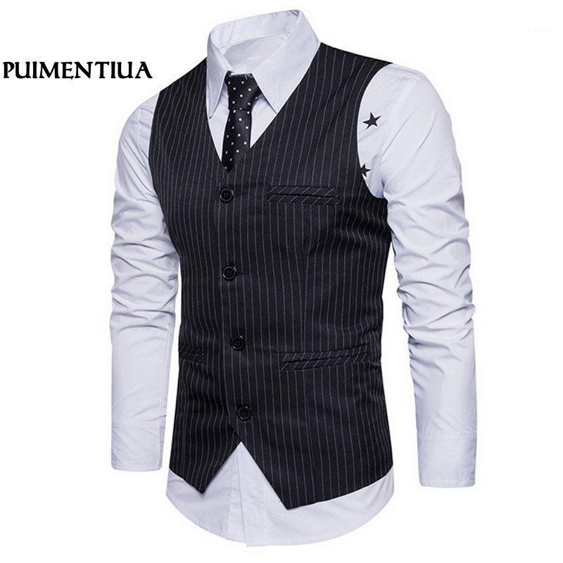 Одиночный мужской жилет для мужчин классический черный коричневый точечный костюм жилет для мужчин большой размер puentialua ts1