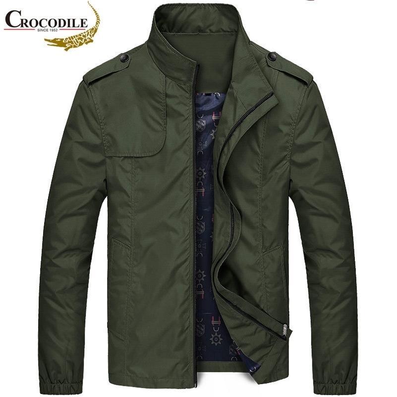 Timsah Marka Erkek Bombacı Ceketler Rahat Giyim Mont İlkbahar Sonbahar Erkek Ceket Rüzgar Kırıcı Motosiklet Ceket Erkekler 201118