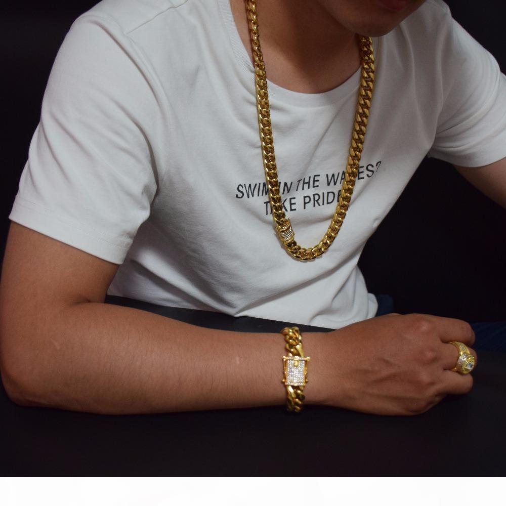 14 milímetros 18-30inches Cadeia do Aço Mens cubano Miami Fazer a ligação Colar inoxidável CZ Fecho Iced Out ouro Hip hop Colar