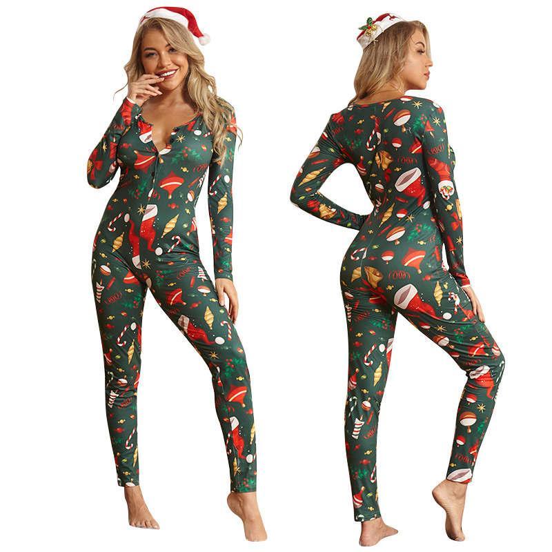 크리스마스 만화 패턴 여성 바디 수트 잠옷 섹시한 깊은 V 여자 점프 슈트 여성 캐주얼 슬림 장난 꾸러기 크리스마스 의상