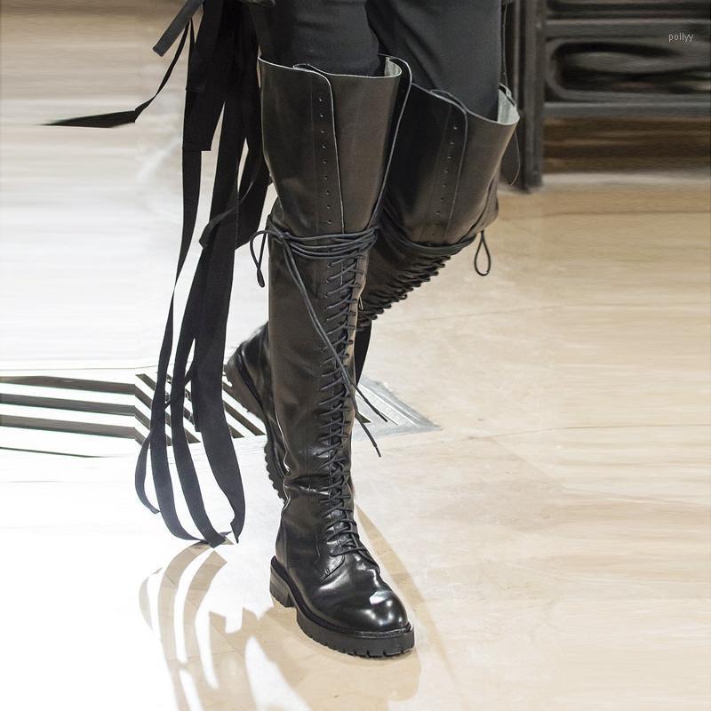 Mujeres de cuero de vaca con cordón de encaje hacia arriba sobre las botas de la rodilla gruesa suela larga botas gruesas tacones altos de invierno zapatos de caballero1