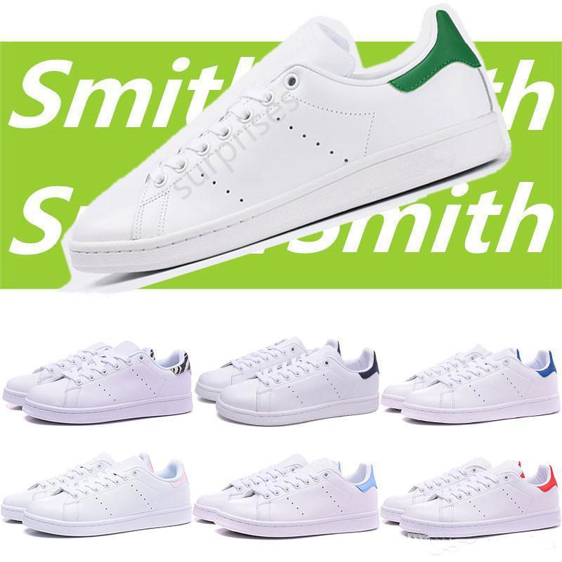 2020 Смит Стэн Мужчины Женщины Кроссовки Зеленый Черный Белый ВМС Красный Зеленый Радуга Мужская Мода Кожаная Обувь Открытый Повседневная Обувь