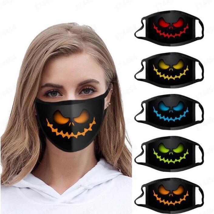 Máscara de Halloween Mascarilla Adult Calabaza Impresión de la máscara de la cara Dibujos animados Poliéster Antifog Mascarillas de moda Se pueden lavar y reutilizar máscaras de diseñador LSK1477