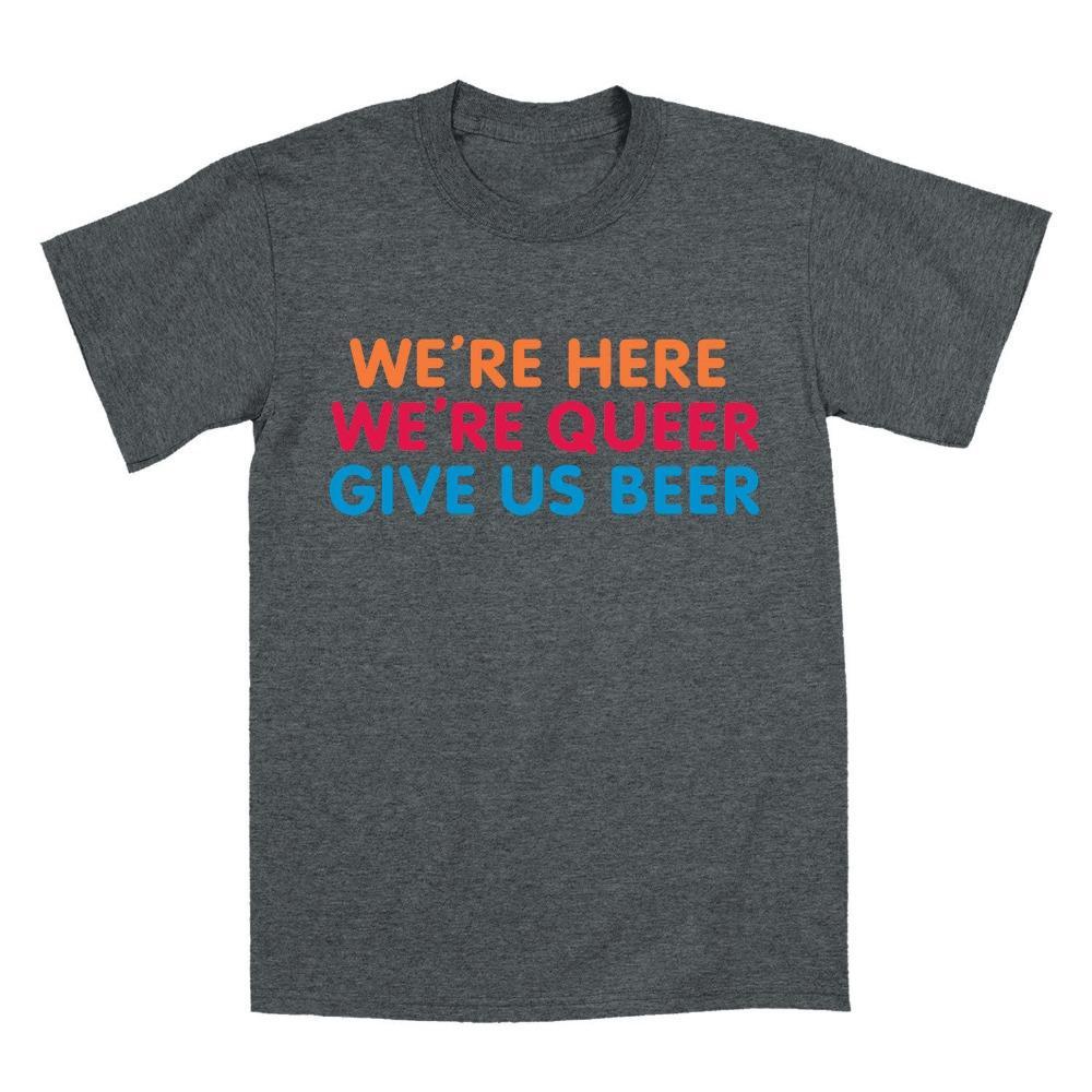 Sport Moda Maniche corte Camisetas Slim Fit supera i T Siamo qui stiamo Queer Dare Beer Funny-Mens T-Shirtslim T-shirt