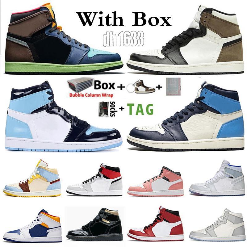 2020 الجديد Jumpman 1 1S الرجال أحذية كرة السلة حجر السج UNC طوكيو الحيوية هاك منتصف الرقمية الظلام الوردي موكا شيكاغو الرياضة المدربين حذاء رياضة حجم 13