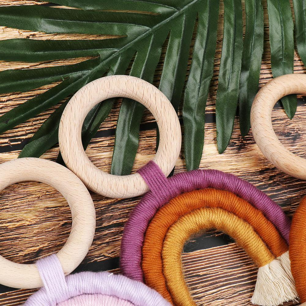 Teething Toys Safe Organic Wooden Ring Baby Wood Teether Nursing Toys
