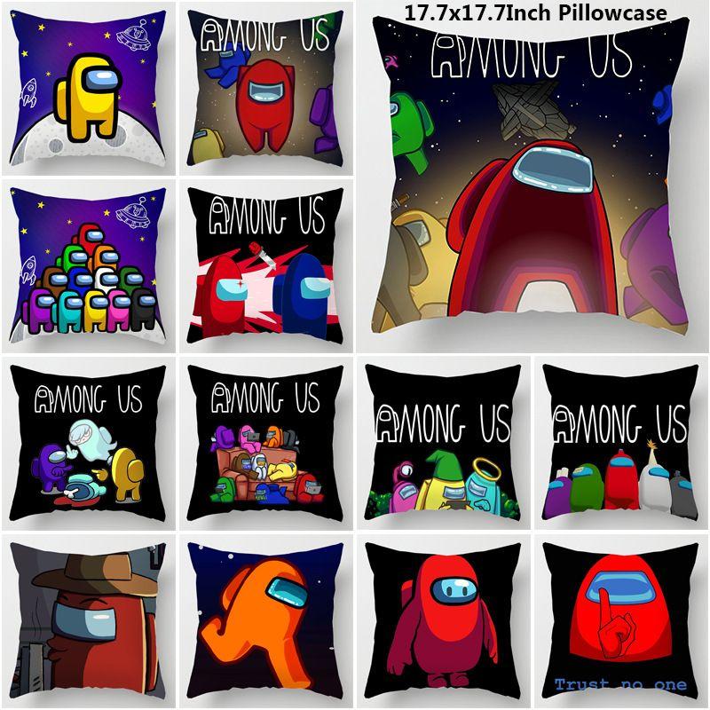 Among Us fronha 45 * 45 centímetros New Game Entre nós bonito fronha dos desenhos animados Sem PP Cotton 22 Patterns DHL frete grátis