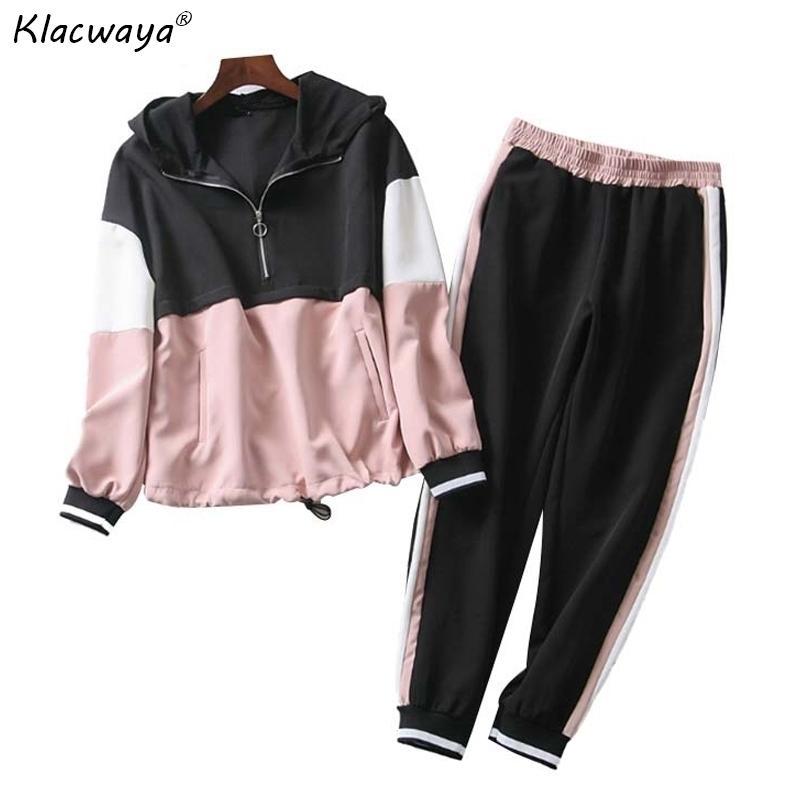 Rosa Patchwork Dois Peça Outfit Mulheres Primavera-outono Com Capuz Bomber Jaqueta Senhoras Senhoras Senhoras Meninas Solto Hoodies Set Y200110