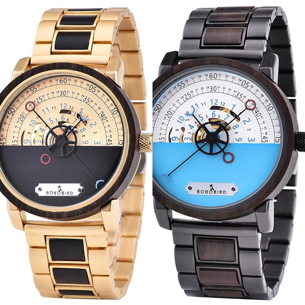 Bobo Vogel Holz Edelstahl Mechanische Automatische Uhren Männer Wasserdichte Weihnachtsgeschenke Uhr Kundenspezifisch Dropshipping Y1220