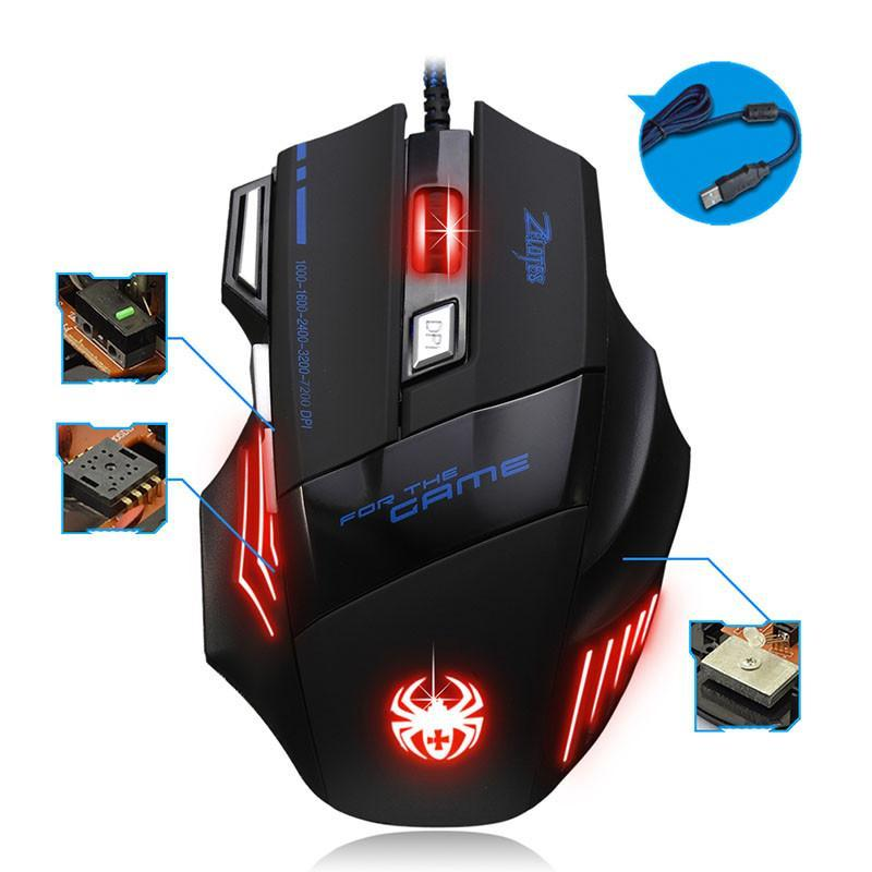 professional Gaming Mouse Ergonomically 7Button LED Optical USB Wired Mice 5500DPI High Quality Mouse Gamer For Laptop PC 20j16