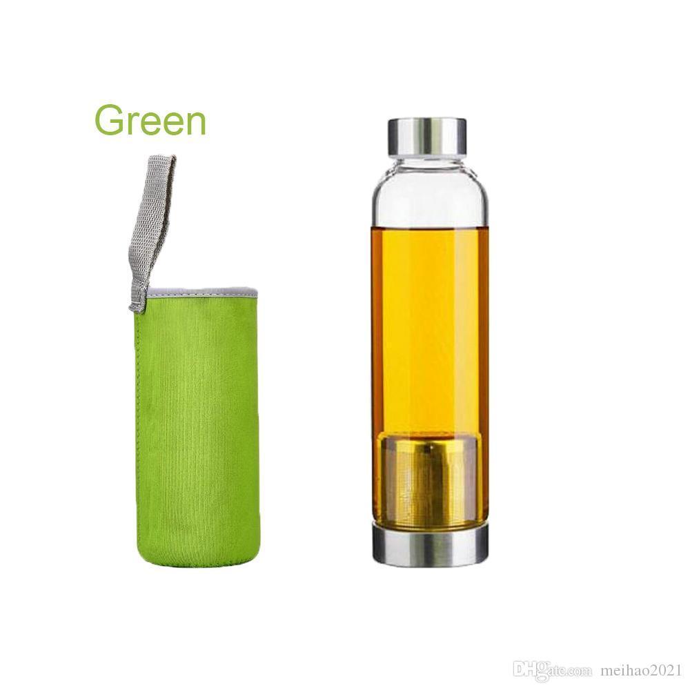 420 ملليلتر 550 ملليلتر زجاجة مياه الزجاج bpa الحرة عالية مقاومة درجات الحرارة الزجاج الرياضية زجاجة المياه مع تصفية الشاي infuser زجاجة النايلون كم جديد