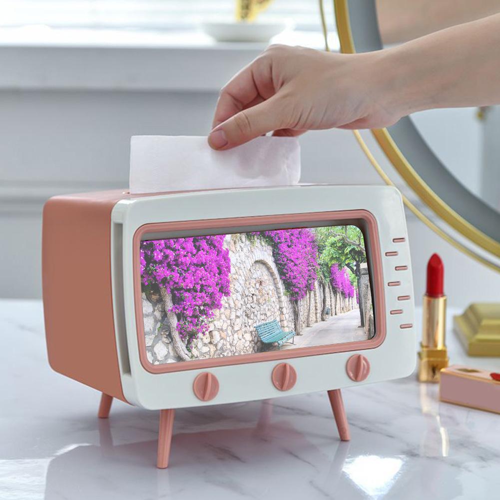 Cuisine TV Forme Tissue Box Carte Chambre Logement Design, Salon, serviette Conteneur Dorm Téléphone Titulaire Antiderapant Home Office
