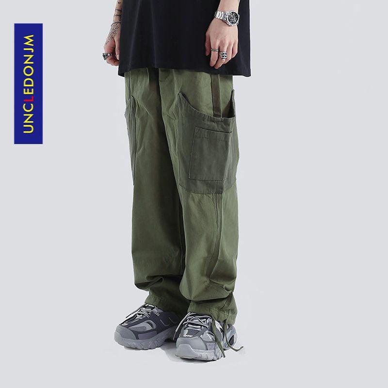UNCLEDONJM Multi-Pockets Drawstring Patch Bag Tooling Neutral Men's Casual Pants Straight Pants Cargo Pants CG-2003 0930
